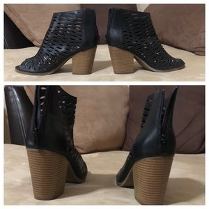 Rampage leather bootie open toe